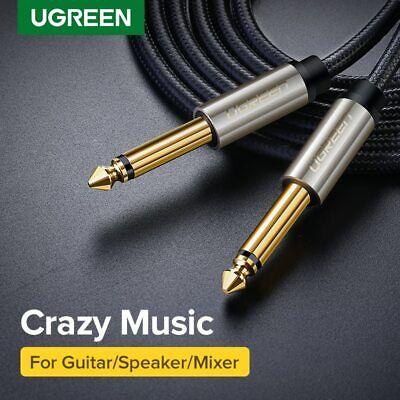 "Ugreen GOLD Mono 6.35mm 1/4"" Jack Plugs Guitar/Amp/Instrument Audio Cable Lead"
