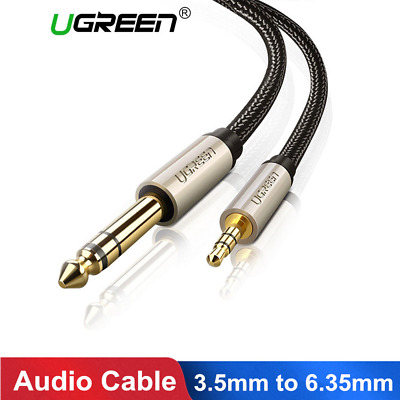 "Ugreen 3.5mm Jack Male to 1/4"" 6.35mm Plug Stereo Audio Cable Lead for Guitar"