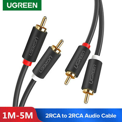 Ugreen Gold Plated Male to Male 2 RCA Audio Cable For Laptop TV DVD amplifier