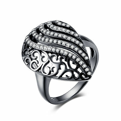 JewelryPalace Unique Ring CZ Solid 925 Sterling Silver Black Gold Plated