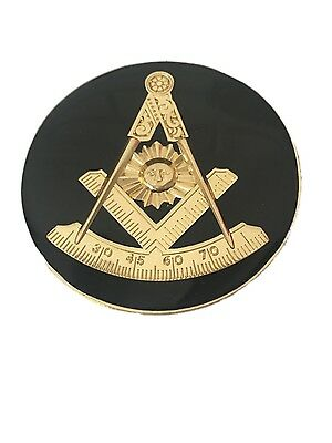 F&AM Past Master Masonic Bumper Sticker With Square (BLACK)