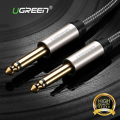 """Ugreen 6.35mm 1/4"""" Audio Cable Mono Jack to Plug Guitar Keyboard Amp Lead GOLD"""