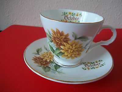 Crown Trent Staffordshire Fine Bone China Birthday cup & saucer - OCTOBER