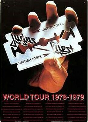 Judas Priest British Steel Tour metal sign 290mm x 210mm (ka) REDUCED to clear
