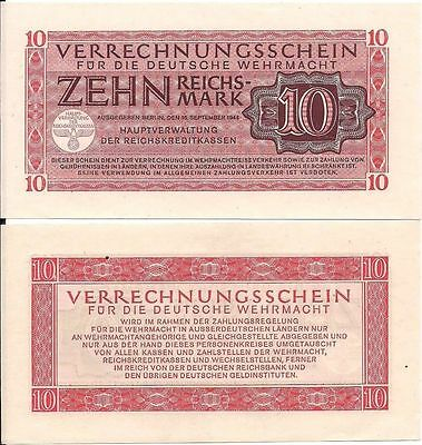 Nazi Germany military payment certificate 10 Reichsmarks in UNC condition, WWII