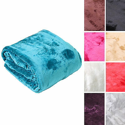 Soft Supreme Silky Plush Mink Faux Fur Large Bed Sofa Cover Throw Fleece Blanket