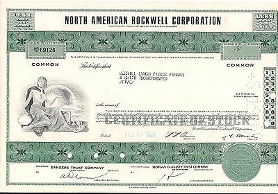 6 different North American Rockwell Corp/Aviation Inc stock certificate (Boeing)