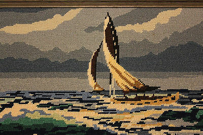 Vintage  Needlepoint Sailboat Sea Cape Cod  Framed Picture Signed 1980