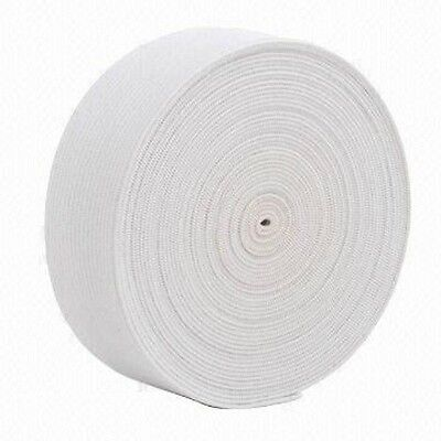 White Knitted Elastic, 2 Inch 50Mm Wide, Choose Length, Art Kn-88, Free P&P