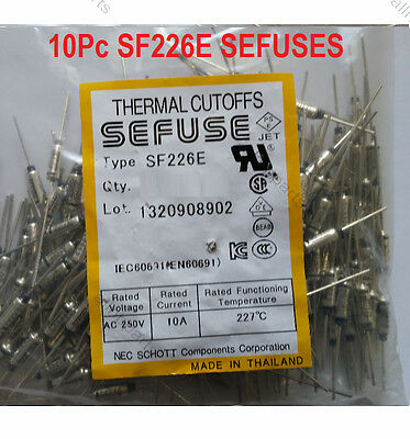 10PC Microtemp Thermal Fuse 227°C 227 Degree TF Cutoff SF226E 10A AC 250V New