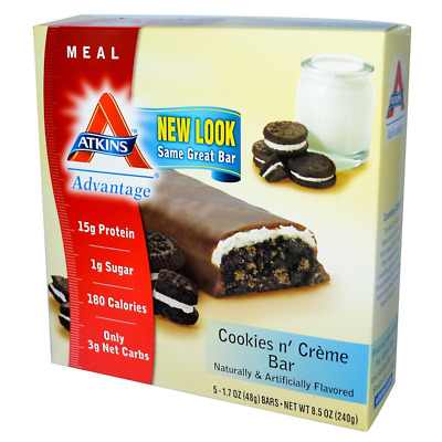 New Atkins Advantage Cookies N' Creme Bar Healthy Snack Grocerie Food Nutrition