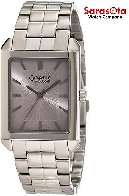 Caravelle by Bulova 43A104 Stainless Steel Gray Dial Rectangle Quartz Mens Watch