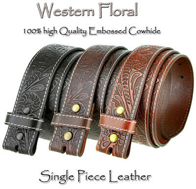 """Bs 118 - Western Floral Engraved Tooled Leather Belt Strap 1-1/2"""" Wide New"""