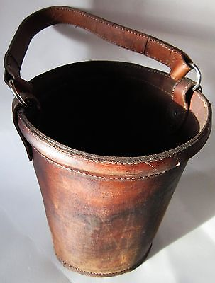 """Vintage Leather Fire Bucket 11"""" tall by 8"""" in Diameter"""