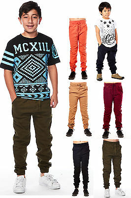 Boys Kids Slim Fashion Clothes Drawstring Cuffed Joggers Pants