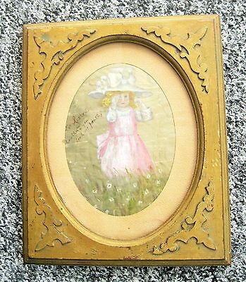 Antique Victorian Framed Watercolor On Silk C1800's Little Girl Crying
