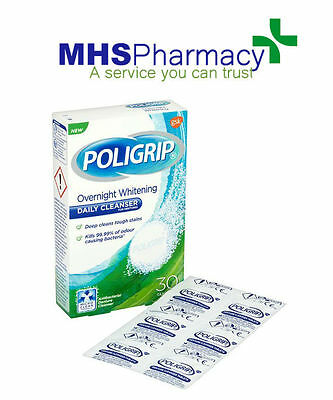 Poligrip Overnight Whitening Denture Daily Cleanser (30 tablets)