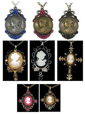 """Victorian Style Lady Crystal Charm Pendant Matching 26"""" Chain Necklace New"""