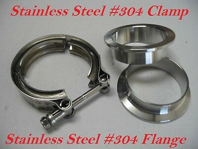 "3"" inch Stainless Steel #304 V band Vban Clamp w/2 Flange Turbo Exhaust Down Pip"