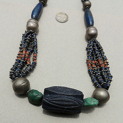 a wearable necklace with lapis coral silver turquoise beads afghanistan #7