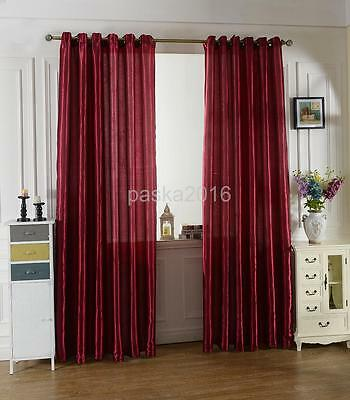 100x200cm Modern Jacquard Window Panel Shade Curtain Drape Blind Wine Red