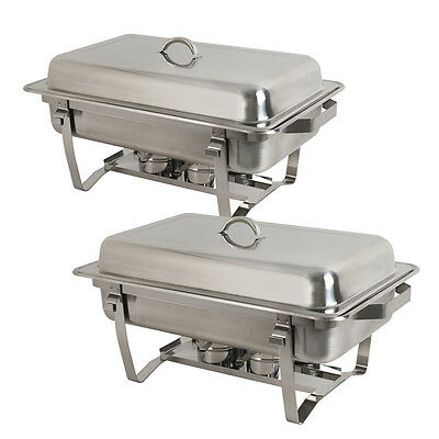 2-Pack Full Size 8 Qt. Stainless Steel Chafing Dishes with Durable Frames