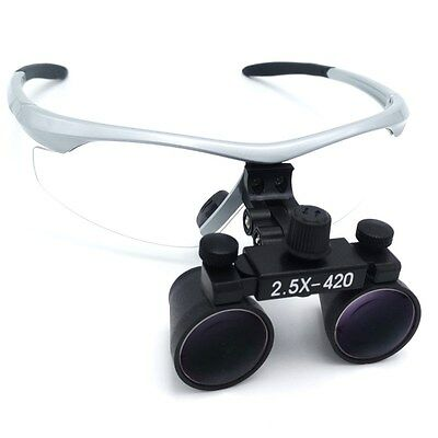 2.5x420mm Dental Loupes Surgical Binocular Loupe Dental Magnifier Silver DY-101