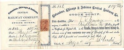 Columbia, Chicago & Indiana Central Railway Co stock certificate,1868-1869