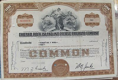 2 different. Stock certificate Chicago, Rock Island & Pacific Railroad Company