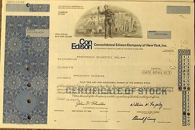 3 diff Stock certificate Consolidated Edison Comp Twin Towers World Trade Center
