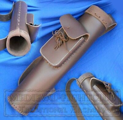 Leather Quiver with Large Pouch Archery Arrows Reenactment