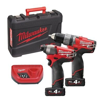 Milwaukee 12v Twin Pack M12PP2A-402C fuel M12CPD + M12CID 2 x 4.0Ah batteries