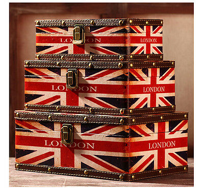 Set of 3 Wooden British Flag Suitcase Vintage Retro Storage Boxes Decorative Box