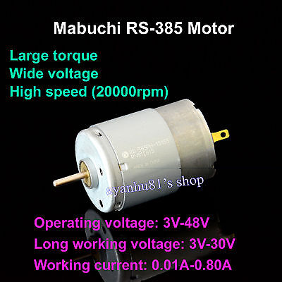 DC 3V-48V Mabuchi RS-385 DC Motor 20000RPM for hair dryer/vacuum cleaner/copycat