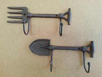 Cast Iron Garden Fork and Spade Rack Hooks Rustic