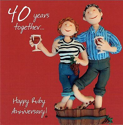 40th Wedding Anniversary Card From the One Lump or Two Collection Ruby anniversa