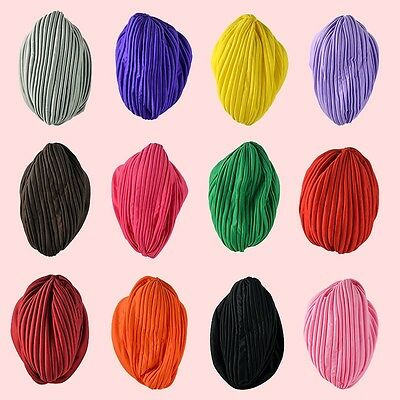 Indian Cap Pleated Head Wrap Turban Stretchy Band Cloche Chemo Hijab Hat Trendy