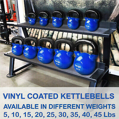 Yes4All Vinyl Coated Cast Iron Kettlebells Weight Workout Gym Training 5- 50 Lbs