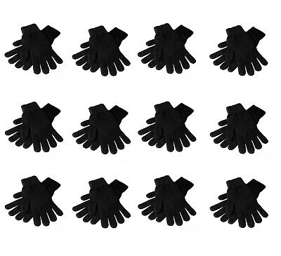 12 Pairs Magic Knit Gloves Winter Warm Plain One Size Fits Most Wholesale Lot NY