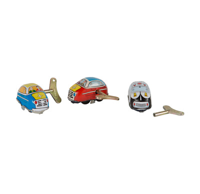 Gold Leaf Designs - Tiny Metal Wind-Up Toy Cars Replicas Set of 3