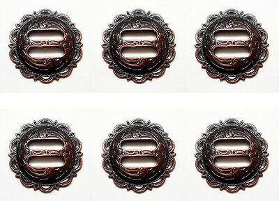Set of 6 WESTERN SADDLE TACK COPPER COLOR ENGRAVED SCALLOPED SLOTTED CONCHOS