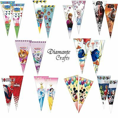 Cone Cello Party Bags - Sweet Candy Themed Plastic Birthday Children Kid Favour