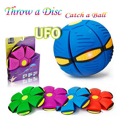 UK Novelty Flying UFOFlat Throw Disc Ball With Light Toy Phlat Soft Kids Outdoor
