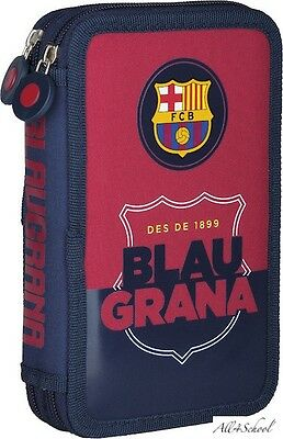 New Official Fc Barcelona Barca Double Pencil Case For Kids With Equipment
