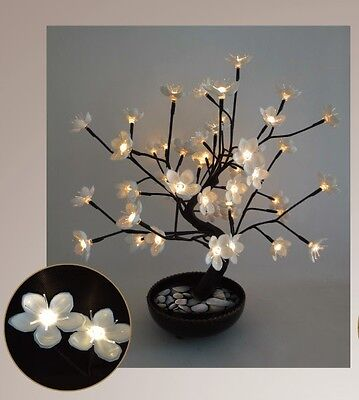 """White Cherry Blossom LED Tree in Pot - Home Decoration 21"""" - LB"""