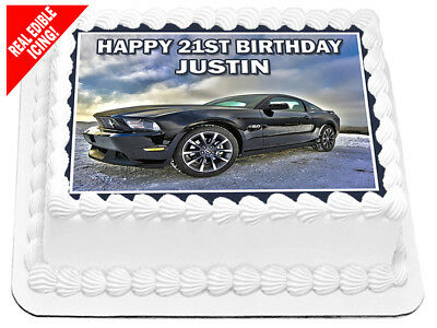 Ford Mustang Edible Icing Cake Image A4 Birthday Party Decoration Topper