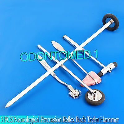 5 PCS Neurological Percussion Reflex Buck Taylor Hammer Queen Square Pinwheel