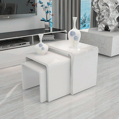 Modern High Gloss Nest Set of 3 White Coffee Table Nested Side Table Living Room