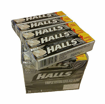 180pc. Halls, Mentho-Lyptus, Extra Strong, Triple Action, 20packs X 9 tablets.