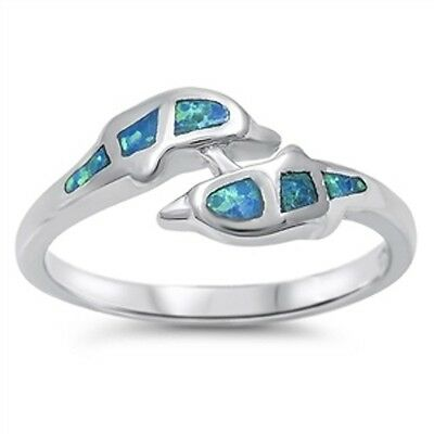 .925 Sterling Silver Simulated Blue Opal Dolphin Promise Fashion Ring Size 5-10